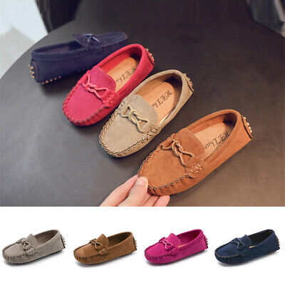 Kids Girl Boy Toddler Casual Formal Leather Loafers Moccasin Wedding School Shoe