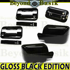 04-08 F150 Reg/Ext Cab GLOSS BLACK Door Handle Covers wPK noKP+Mirrors+Tailgate