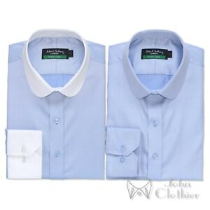 Penny-collar-shirt-Sky-Blue-Diamond-Banker-style-for-Men-Round-Club-collar-Gents