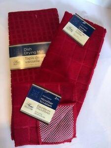 Kitchen-Towel-Dish-Drying-Mat-and-2-Pk-Microfiber-Scrubber-Set-Red-New