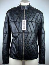 DIRK BIKKEMBERGS Lederjacke Leather Jacket Bikerjacke Gr.52 Black NEU mit ETIKET