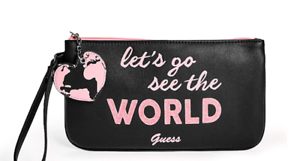 GUESS-Black-Pink-Logo-Travel-Graphic-Wristlet-Pouch-Bag-Lets-Go-Free-Shipping