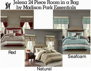 Details about Madison Park Essentials Jelena 24 Piece Room in a Bag in  Natural, Red or Seafoam