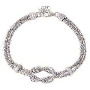 14K-WHITE-GOLD-OVER-925-STERLING-SILVER-KNOT-amp-BAR-BRACELET-8-039-039-ADJUSTABLE