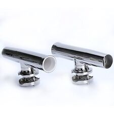 """2X Stainless Clamp on Fishing Rod Holder for Rails 1-1/4"""" to 2"""" Tournament Style"""
