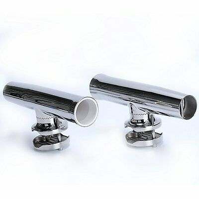 """2PCS Stainless Tournament Style Clamp on Fishing Rod Holder for Rails 1-1//4/""""to2/"""""""