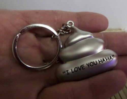 "Funny Kawaii /""I Love You HaHa/"" Rose and a Piece of Poop Metal Keychain Pair"