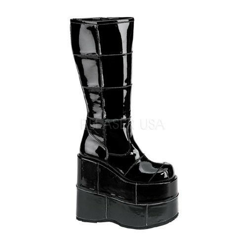 HUGE 7  Monster Platform Brick Cyber Stack Shiny Black Knee Goth Boots Mens 4-13