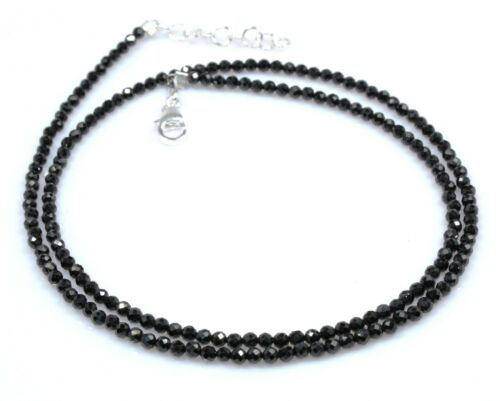 """Black Spinel Bracelet Sterling Silver Beads Jewelry 3 MM 6.5/"""" 7.5/"""" Mothers Day"""