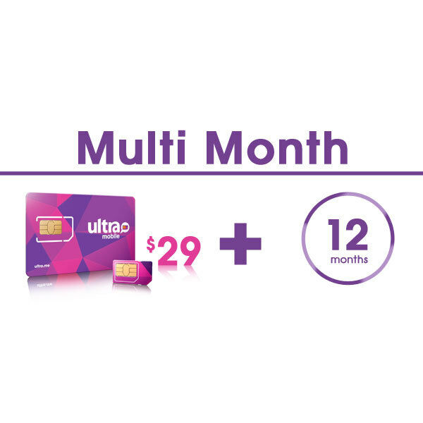 ultra mobile multi month plan for 12 months with sim card ebay