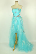 NEW Jovani Size 10 High Low Strapless Polyester Solid Gown $550 Ball Prom Blue