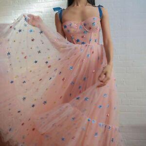 Women-Fashion-Party-Dress-Sky-Star-Printed-Sweet-Mesh-Yarn-Pleated-Long-Dress-UK