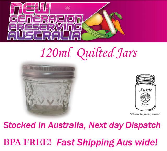 12 x 4oz 120ml Quilted Aussie Mason Jam /Chutney Jars  with Lids  BPA FREE! Ball