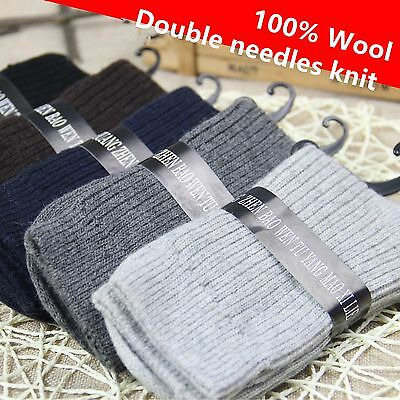 5 Pairs Women/Mens 100% Wool Cashmere Warm Dress Casual Soft Solid Winter Socks