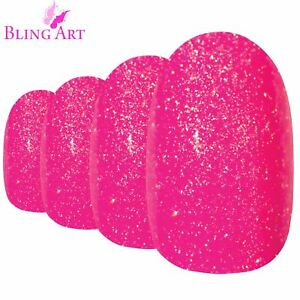 False-Nails-Pink-Gel-Oval-Medium-Bling-Art-Fake-Acrylic-24-Tips-with-2g-Glue