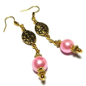 Image Is Loading Long Pink Pearl Earrings Gold Hooks Non Pierced