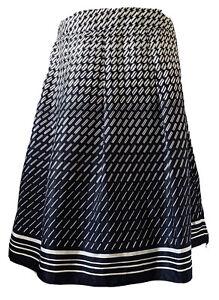 M-amp-S-Portfolio-Navy-A-Line-Skirt-Geometric-Print-Satin-Silky-Pleats-Smart-Size-16