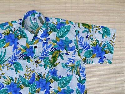 Hawaiin Shirt Hawaii Hawai Shirt white flower blue