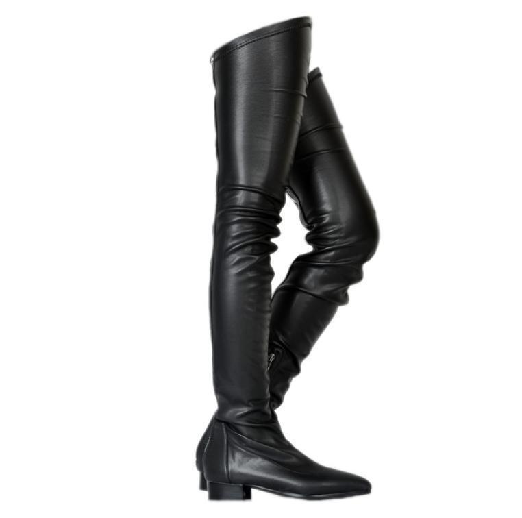 negozio online donna Sexy Leather Leather Leather Fashion New Over Knee stivali Block Low Heels Pointy Toe scarpe  profitto zero