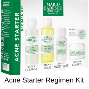 Details About Mario Badescu Acne Starter Kit Cleanser Lotion Moisturiser Cream Treatment Mask