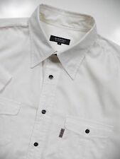 BURBERRY BLACK LABEL JAPAN MENS 3 LARGE CASUAL SHIRT WHITE STRETCH LOGO LUXURY