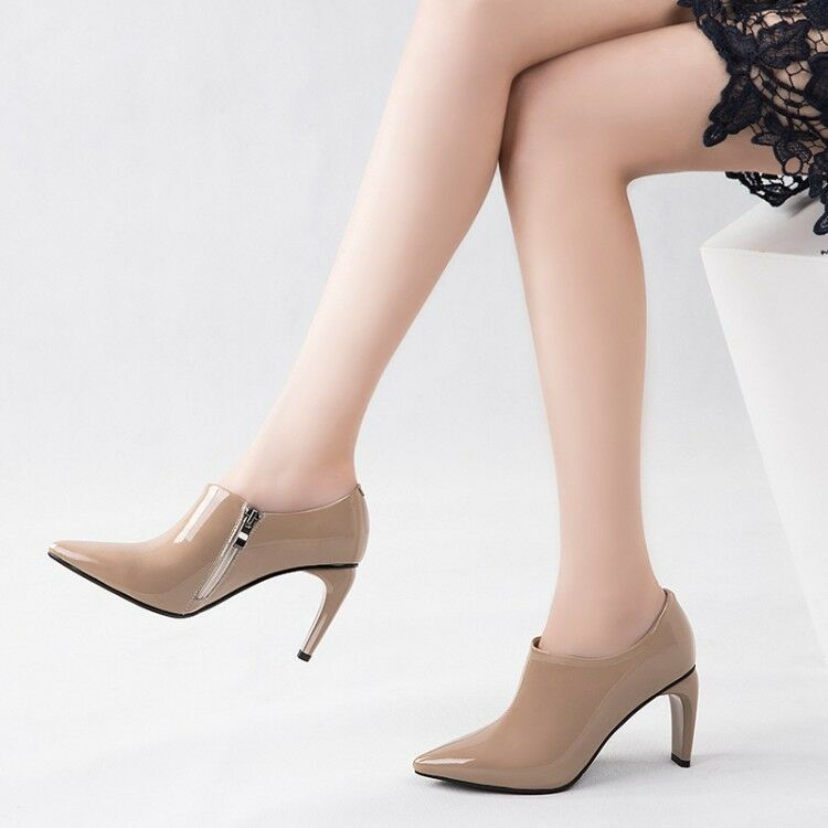 Womens Pointy Toe Patent Leather Pumps High Heel Side Zipper Fashion Ankle shoes