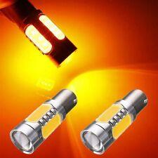 2x Amber Yellow 1156PY PY21W BAU15S COB Car LED Bulb Turn Signal Fog Light DRL