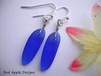 Cobalt Blue Sea Glass Fishbone Dagger Bead Silver Earrings Beach Boho Resort