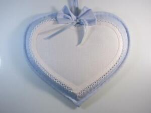 Fiocco cuore nascita 27x24cm con strass e tela aida da ricamare colore azzurro