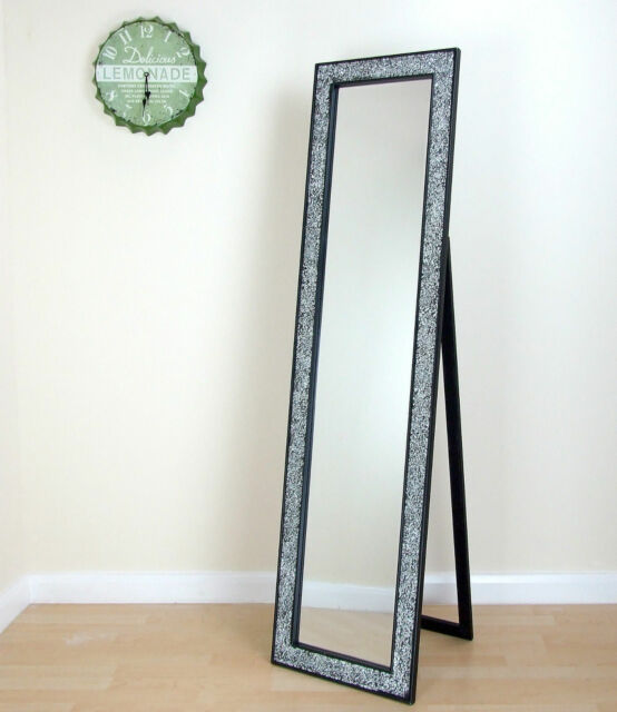 Le Glass Mosaic Cheval Free Standing Mirror Shanghai Style Black 17