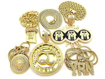 HIP HOP ICED OUT GOLD PLATED MIGOS QC YRN JESUS ANKH 6 CHAIN NECKLACE COMBO SET