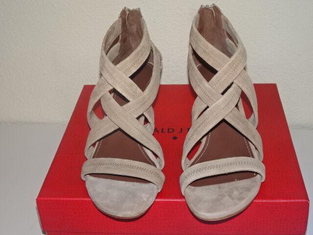 Donald Pliner Vida Strappy Mid Heel Sandals beige taupe mocka läder NWB 9.5