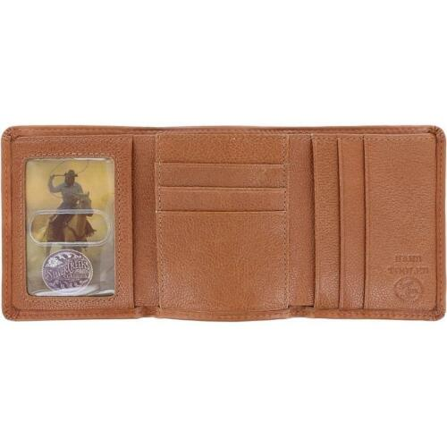 Silver Creek Western Mens Wallet Leather Trifold Las Flores Embossed Tan E80124