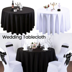 Nappe-ronde-blanche-noire-polyester-nappe-couverture-table-mariage-G