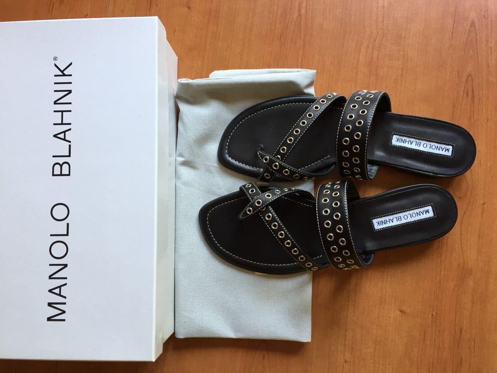 Manolo blahnik sandalias tira dedo flip flop susaocc nuevo embalaje original dustbag