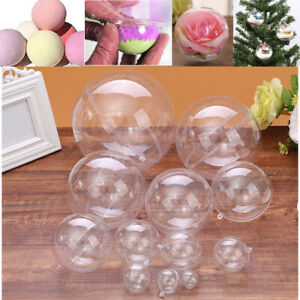 Sphere Empty Clear Hanging Ball Plastic Round Christmas Tree Baubles Cake Mould