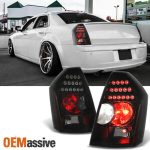 Fit-2005-2007-Chrysler-300-Replacement-LH-RH-Black-Smoke-LED-Tail-Lights-Lamps