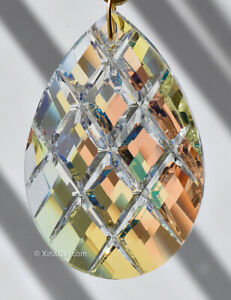 Huge-76mm-Criss-Cross-Facet-Pear-Crystal-AB-Prism-SunCatcher-3-034-Colorful