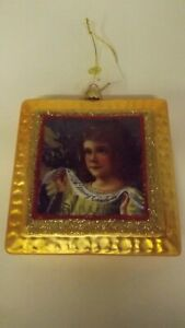 New Glass Square Shape Ornament Victorian Girl Mint with Tag