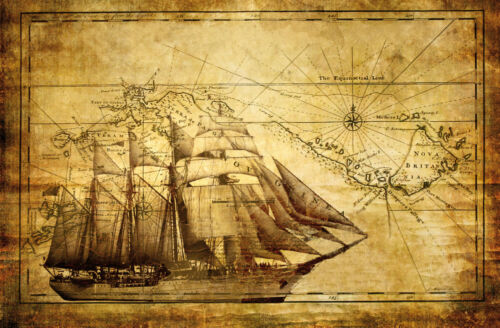 Vlies Fototapete Fototapeten Tapete Tapeten Wandbild Schiff Kompass 3FX022VE