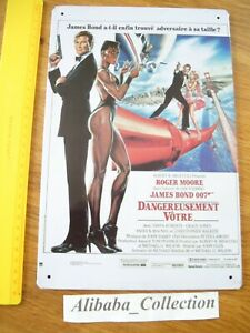 Placca-Latta-James-Bond-007-Pericolosamente-Vostro-Roger-Moore-Film-Pubb