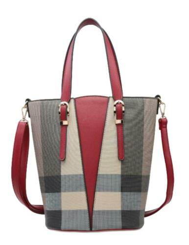 Womens Winged Checked Handbag Two Tone Shoulder Bag Office