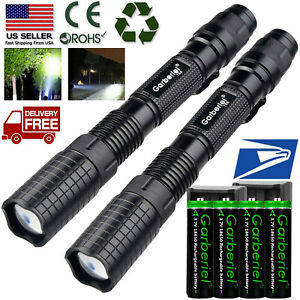 2x Rechargeable 990000LM Tactical T6 5Modes LED Flashlight Zoomable Torch Light