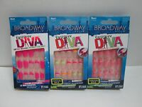 Broadway Fashion Diva Nails Assorted Glue On Nail Kit Short Length - Lot Of 3