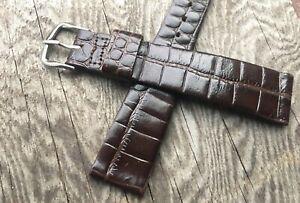 Steel-buckle-vintage-Gruen-watch-17-5mm-strap-1950-60s-crocodile-grain-leather