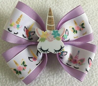 "Girls Hair Bow 4/"" Wide Big Unicorn Flatback Purple Ribbon Alligator Clip"