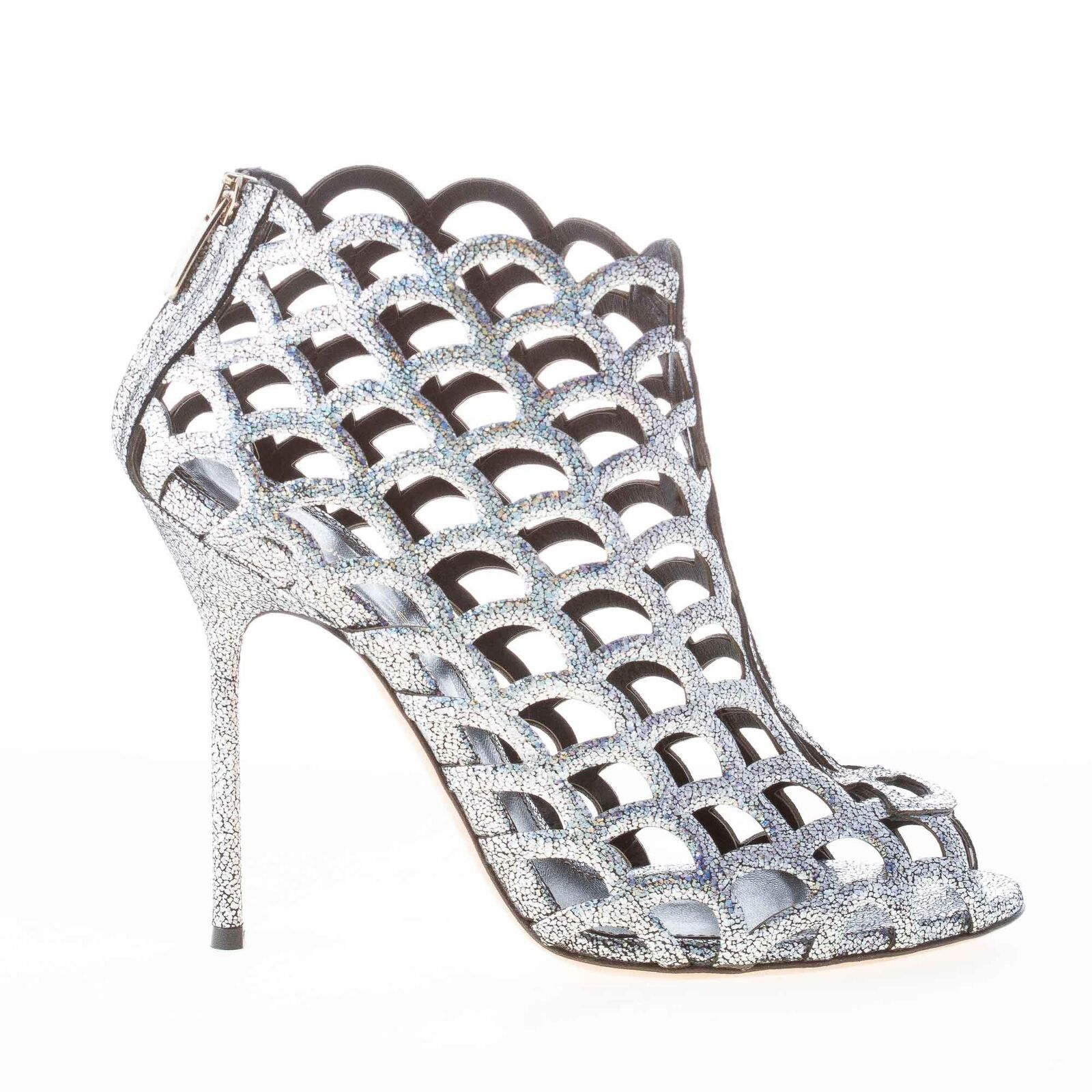 SERGIO ROSSI women shoes Mermaid silver glittered leather ankle ankle leather boot zip A59980 a63fe4