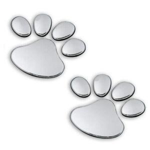 Aufkleber Pfoten Chrom Auto Hunde Sticker Katzen Silber