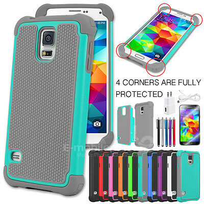 Rugged Rubber Matte Hard Shell Durable Case Cover Charger For Samsung Galaxy S5