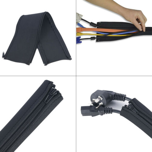 1Pc Neoprene Cable Cord Management Zipper Sleeve Wrap Wire Hider Cover Organizer
